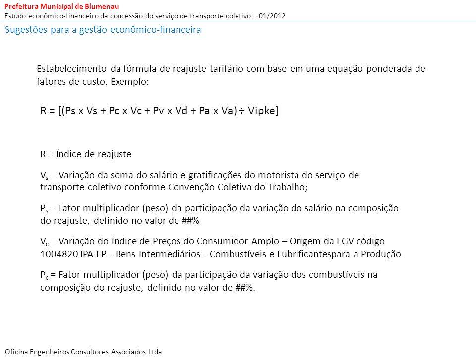 R = [(Ps x Vs + Pc x Vc + Pv x Vd + Pa x Va) ÷ Vipke]